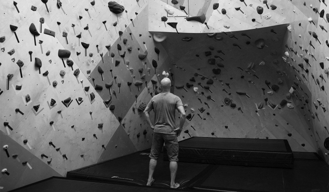 Black and white rock climbing wall